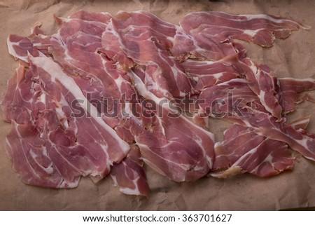 slice of italian ham - stock photo