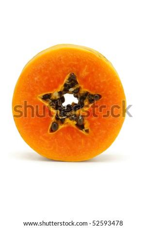 Slice of juicy papaya fruit standing on white background - stock photo