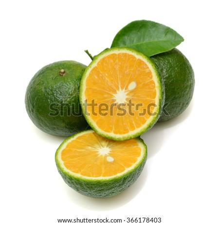 slice of king orange fruit isolated on white background - stock photo