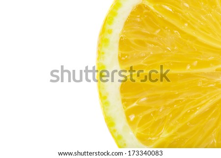 Slice of lemon fruit isolated on white background - stock photo