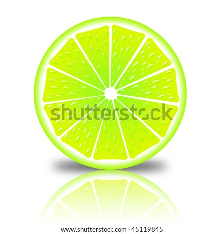 slice of lemon on a white background with reflection - stock photo