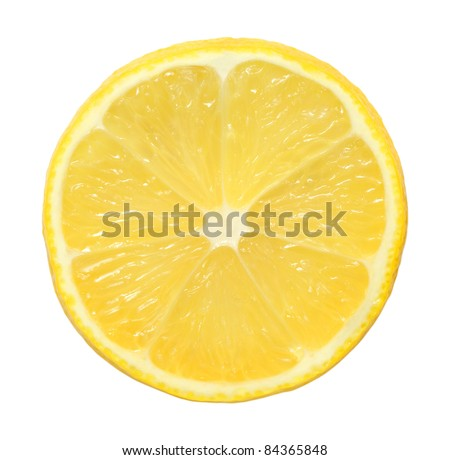 slice of lemon on white background - stock photo