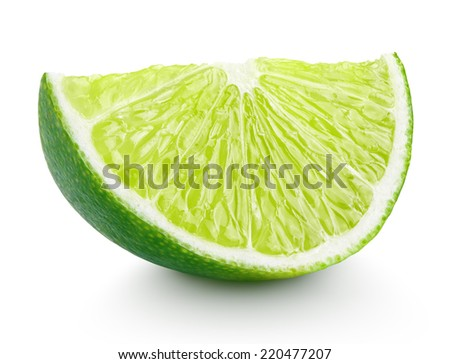 Slice of lime citrus fruit isolated on white background with clipping path - stock photo