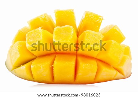 Slice of mango on a white background. - stock photo
