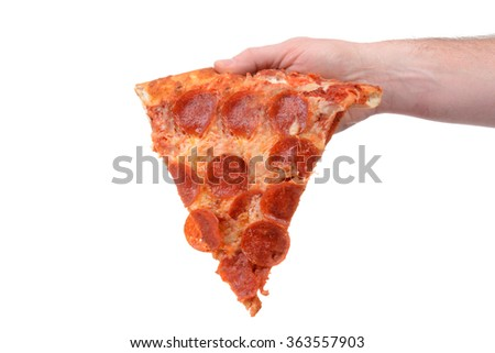 slice of new york style pizza with pepperoni isolated white background - stock photo