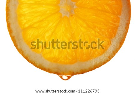 Slice of orange with drop, isolated on white - stock photo
