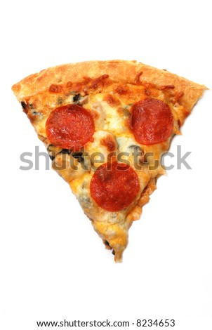 Slice of pepperoni pizza isolated on white background. - stock photo