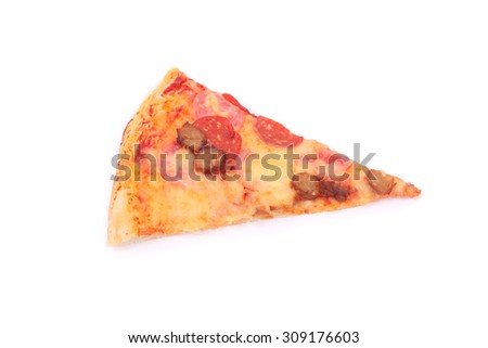 slice of pizza isolated on white - stock photo