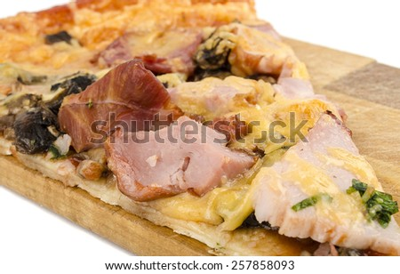 slice of pizza on the board - stock photo