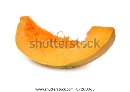 Slice of pumpkin isolated on white background - stock photo