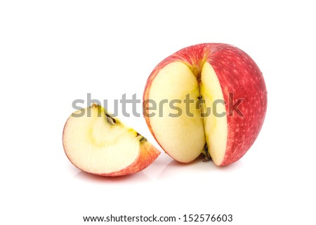 Slice of red apple on white background - stock photo