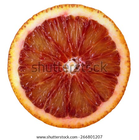 Slice of red blood orange isolated on white. Clipping path included. - stock photo