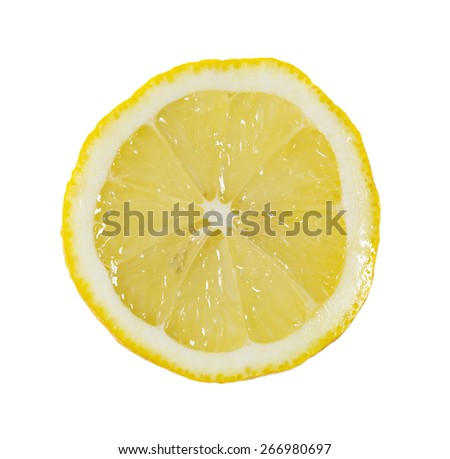 Slice of ripe lemons on a white background - stock photo