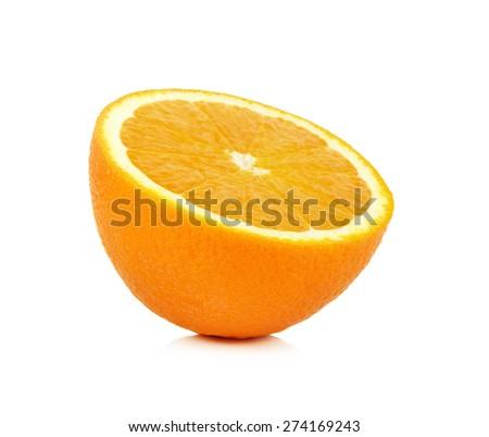 Slice of ripe tangerine isolated on white background. - stock photo
