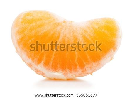 slice of tangerine isolated on white background - stock photo
