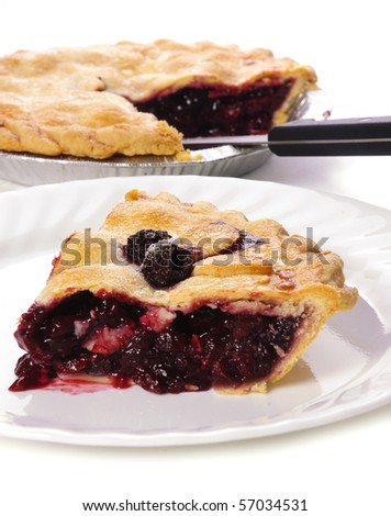 slice of tasty homemade cherry pie on a white background - stock photo