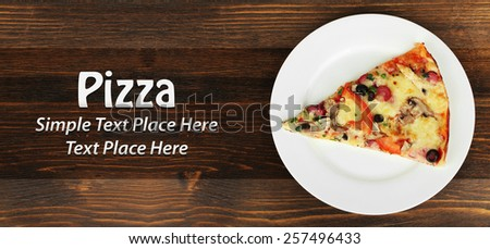 Slice of tasty pizza on the plate - stock photo