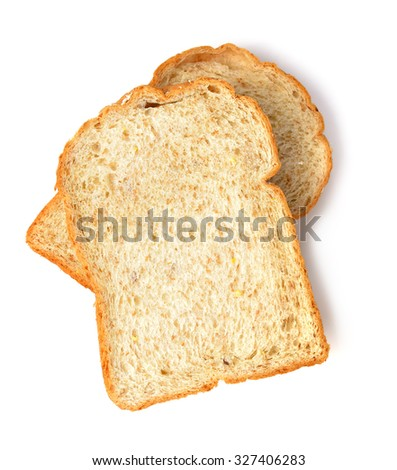 Slice of the toast bread isolated over the white background - stock photo