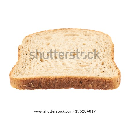 Slice of the toast bread isolated over the white background, side view - stock photo