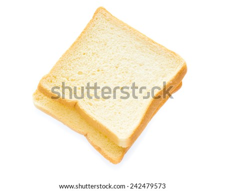 Slice of the toast bread isolated over the white background, top view - stock photo