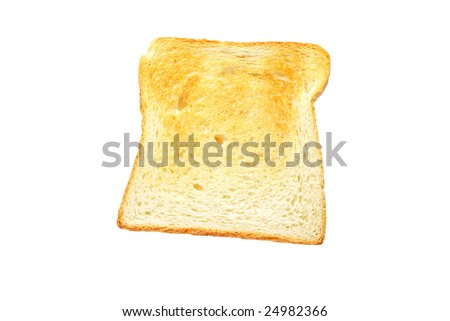 Slice of toast bread isolated on white background - stock photo