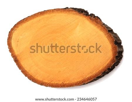 slice of wood isolated over white background - stock photo