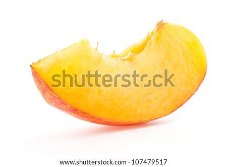 Slice peach, isolated on white background - stock photo