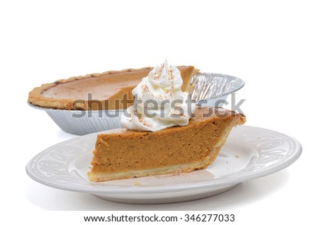 slice pumpkin pie on plate isolated on white background - stock photo