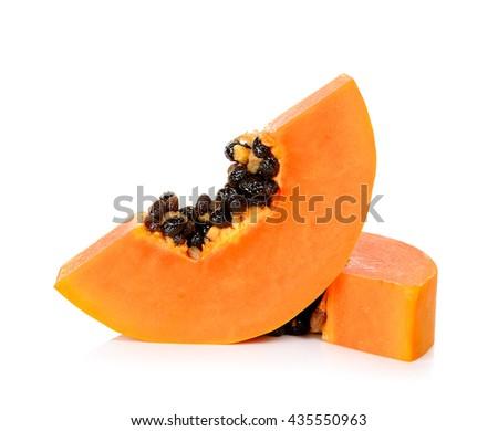 Slice ripe papaya isolated on the white background. - stock photo