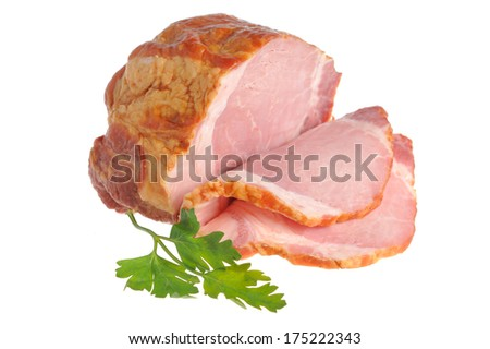 Sliced a piece of bacon and green leaf of parsley isolated on white background - stock photo