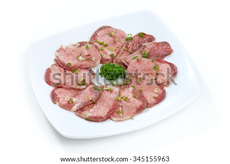 sliced beef tongue, Korean barbecue - stock photo
