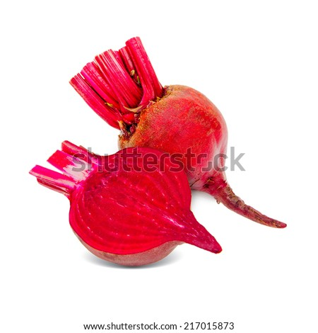 Sliced beetroot isolated on white - stock photo