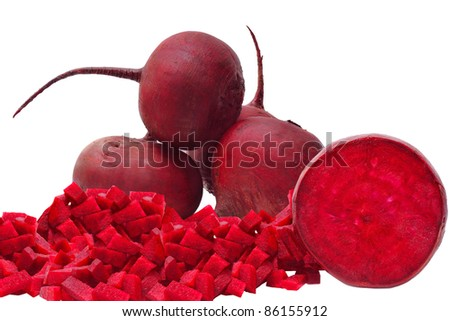 sliced beets isolated on white background - stock photo