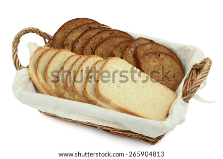 sliced bread in a basket isolated - stock photo