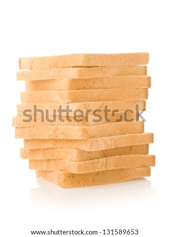 sliced bread isolated on white background - stock photo