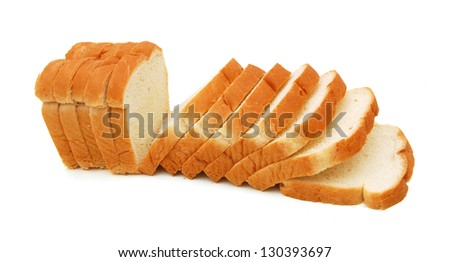 sliced bread on a white background - stock photo