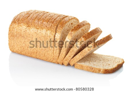 Sliced brown bread isolated on white, clipping path included - stock photo