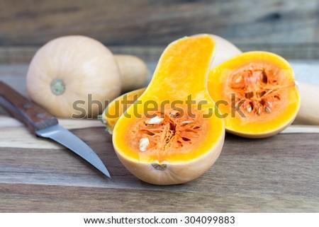 Sliced butternut squash - stock photo