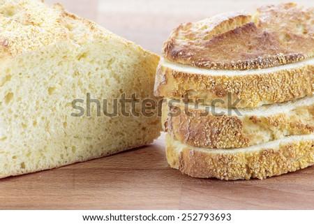 Sliced ciabatta corn bread - stock photo