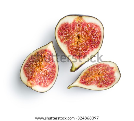 sliced fresh figs on white background - stock photo