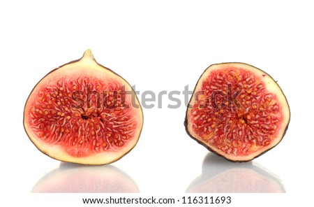 Sliced fruit isolated on white - stock photo