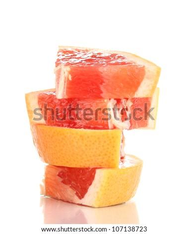 Sliced grapefruit isolated on white - stock photo
