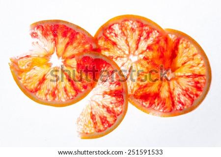 Sliced healthy fresh fruits. Rings of orange  - stock photo