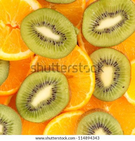 sliced Kiwi fruit and citrus Orange - stock photo