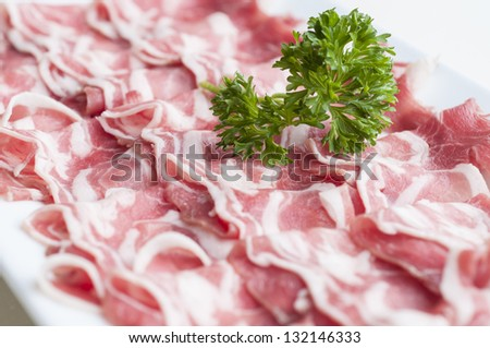 Sliced lamb meat on plate for shabu - stock photo