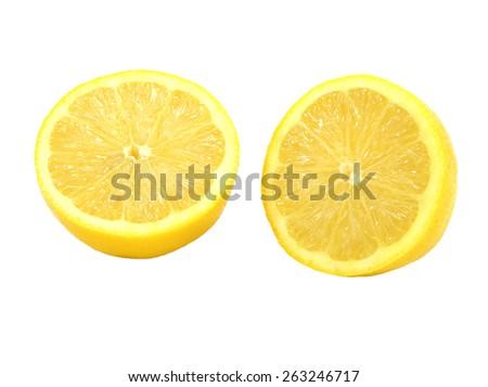 Sliced lemons isolated on white background - stock photo