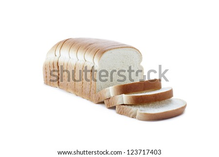 Sliced loaf of bread isolated on white. - stock photo