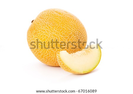 sliced melon isolated on white background - stock photo