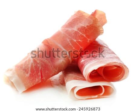 Sliced of jamon isolated on white background - stock photo