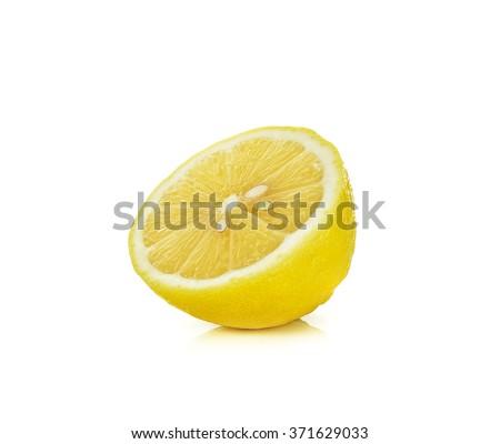 Sliced of lemon isolated on the white background. - stock photo